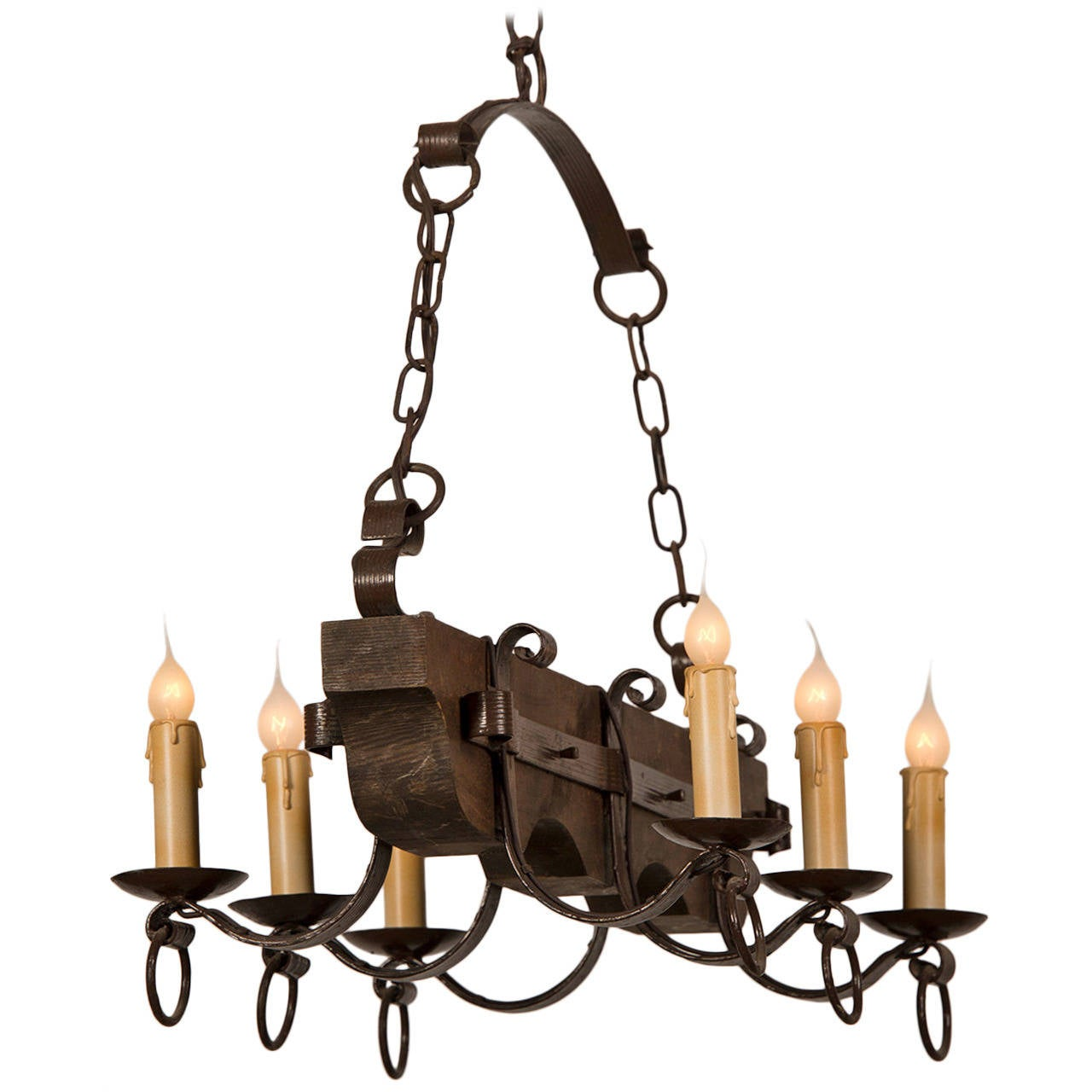 Wood And Iron Chandelier From France Circa 1940 For Sale