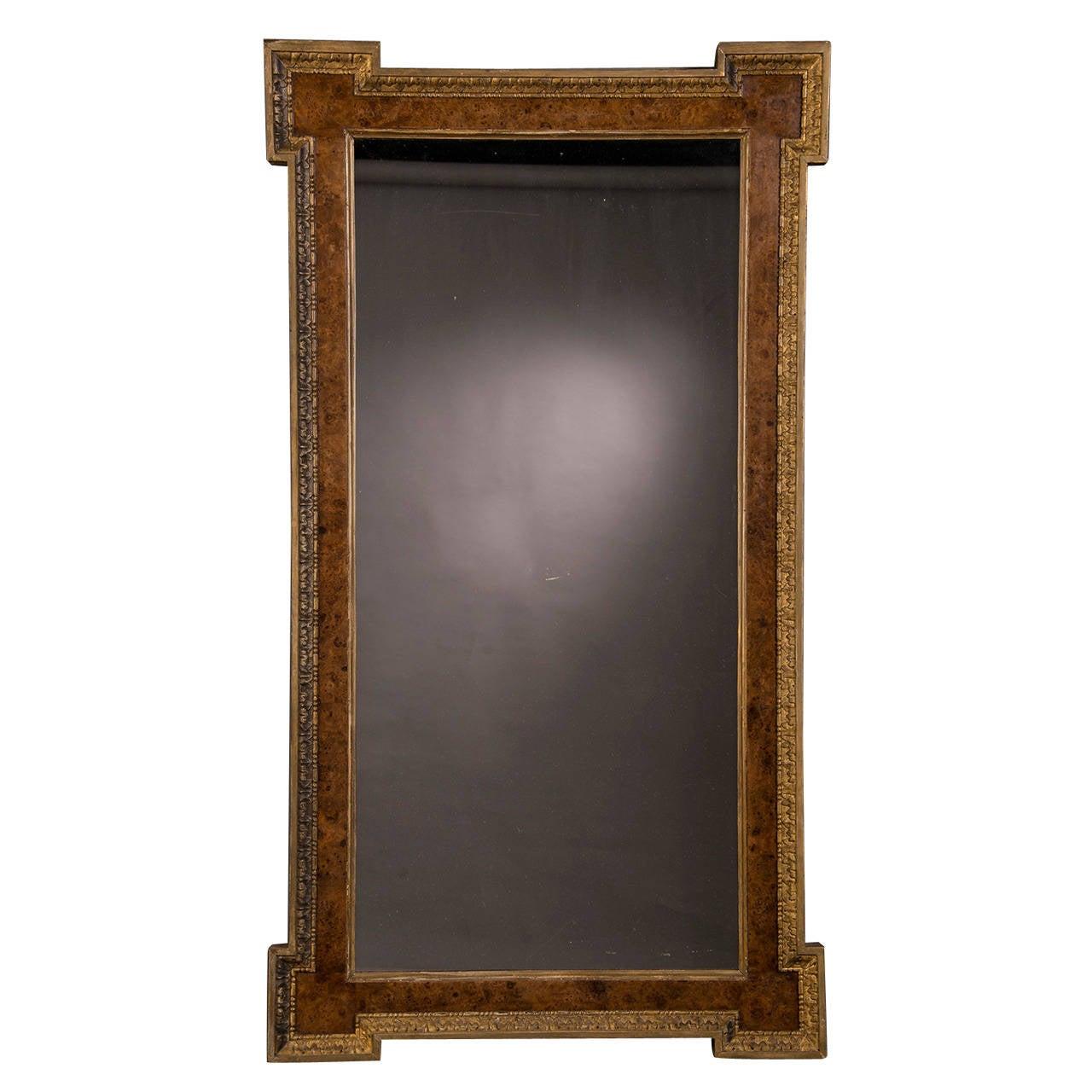 "William Kent Burl Elm and Gilded Mirror, England circa 1875 (43""w x 61 1/2""h)"