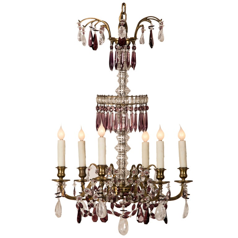 Antique Neoclassical Swedish Rock Crystal and Amethyst Chandelier, circa 1900