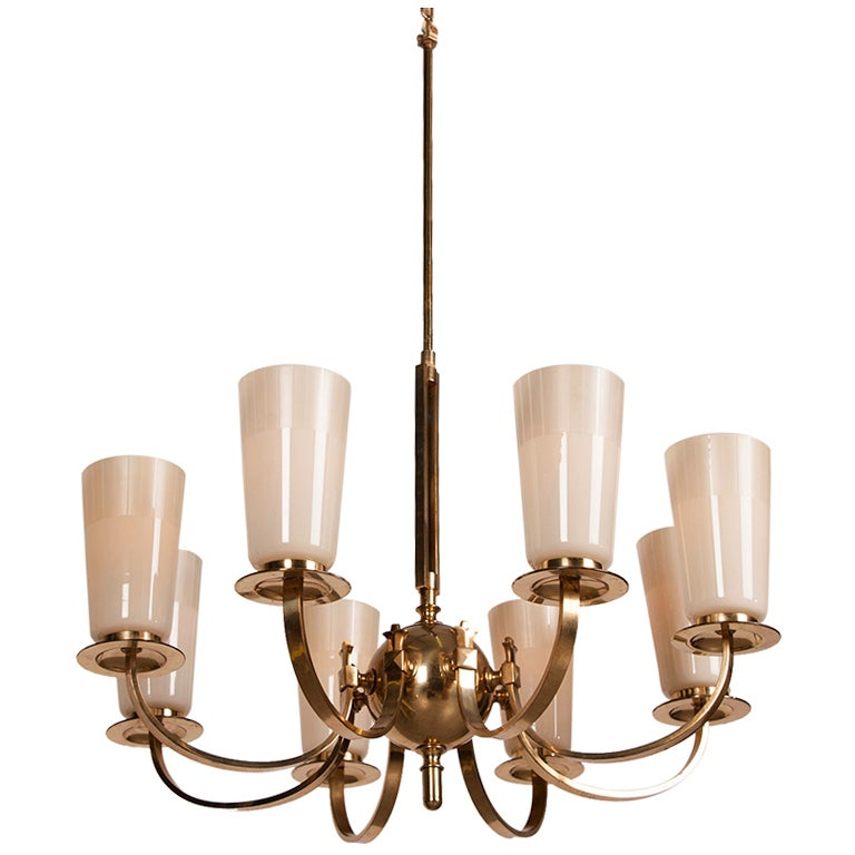 Gilded Brass Chandelier With Eight Glass Shades France C