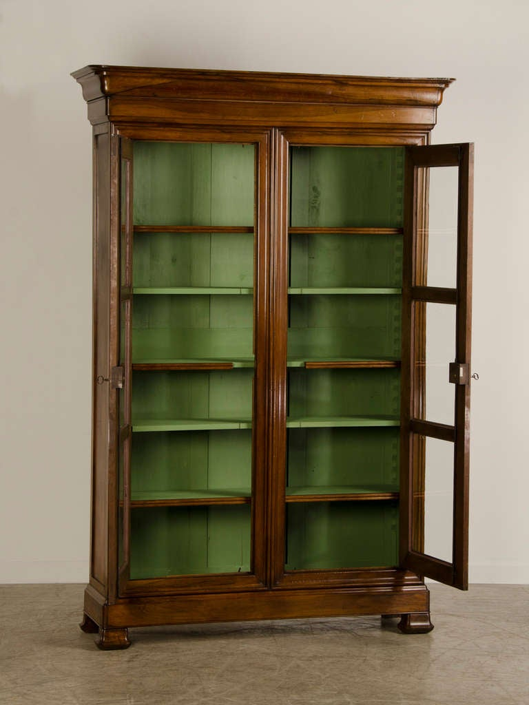 louis philippe tall shallow walnut display cabinet. Black Bedroom Furniture Sets. Home Design Ideas