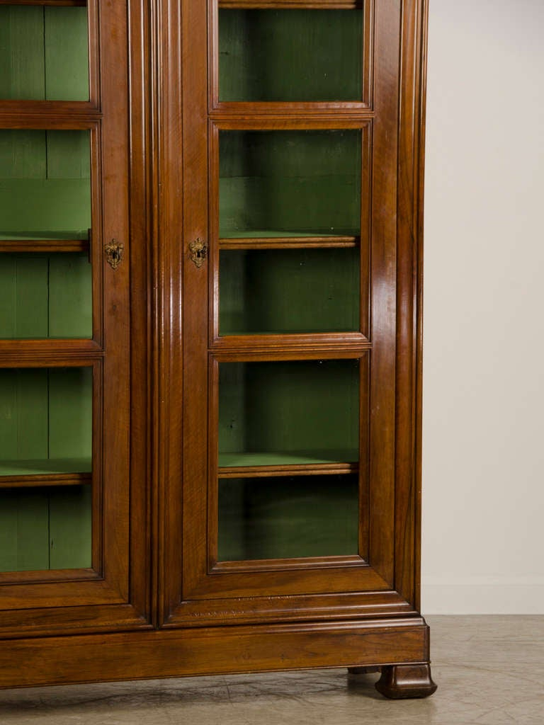 Louis Philippe Tall Shallow Walnut Display Cabinet Bibliotheque France C 1870 At 1stdibs