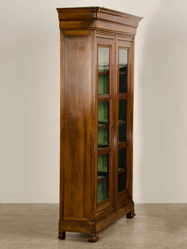 Louis Philippe Tall, Shallow Walnut Display Cabinet/Bibliotheque, France C.  1870 For