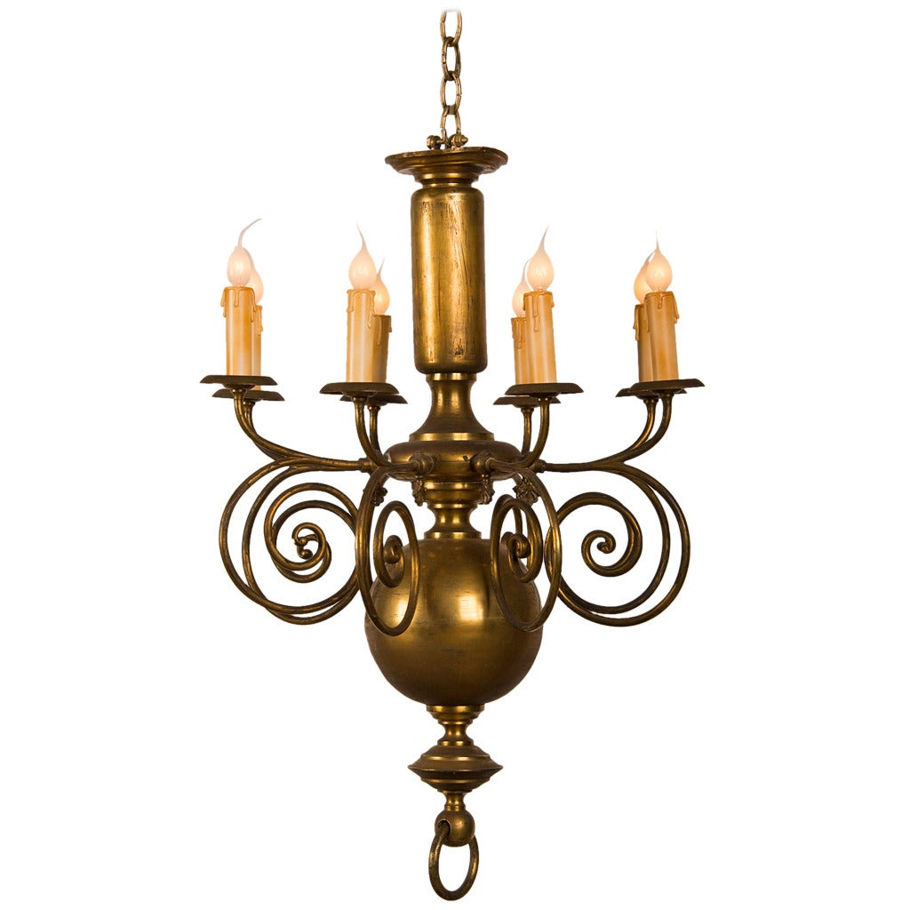 Tall narrow antique dutch brass chandelier with eight arms circa 1900 at 1stdibs - Circa lighting chandeliers ...