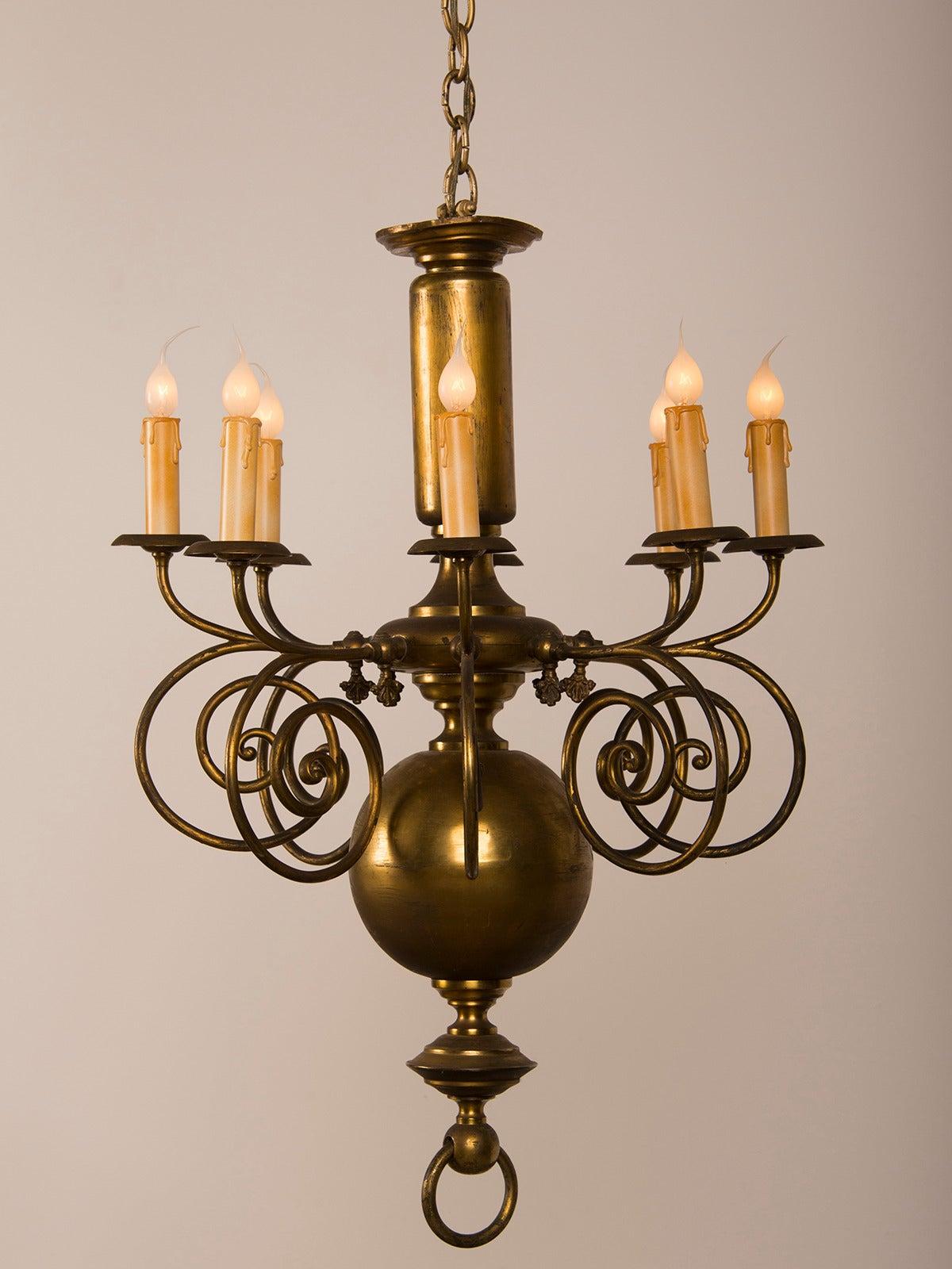 Tall Narrow Antique Dutch Brass Chandelier With Eight