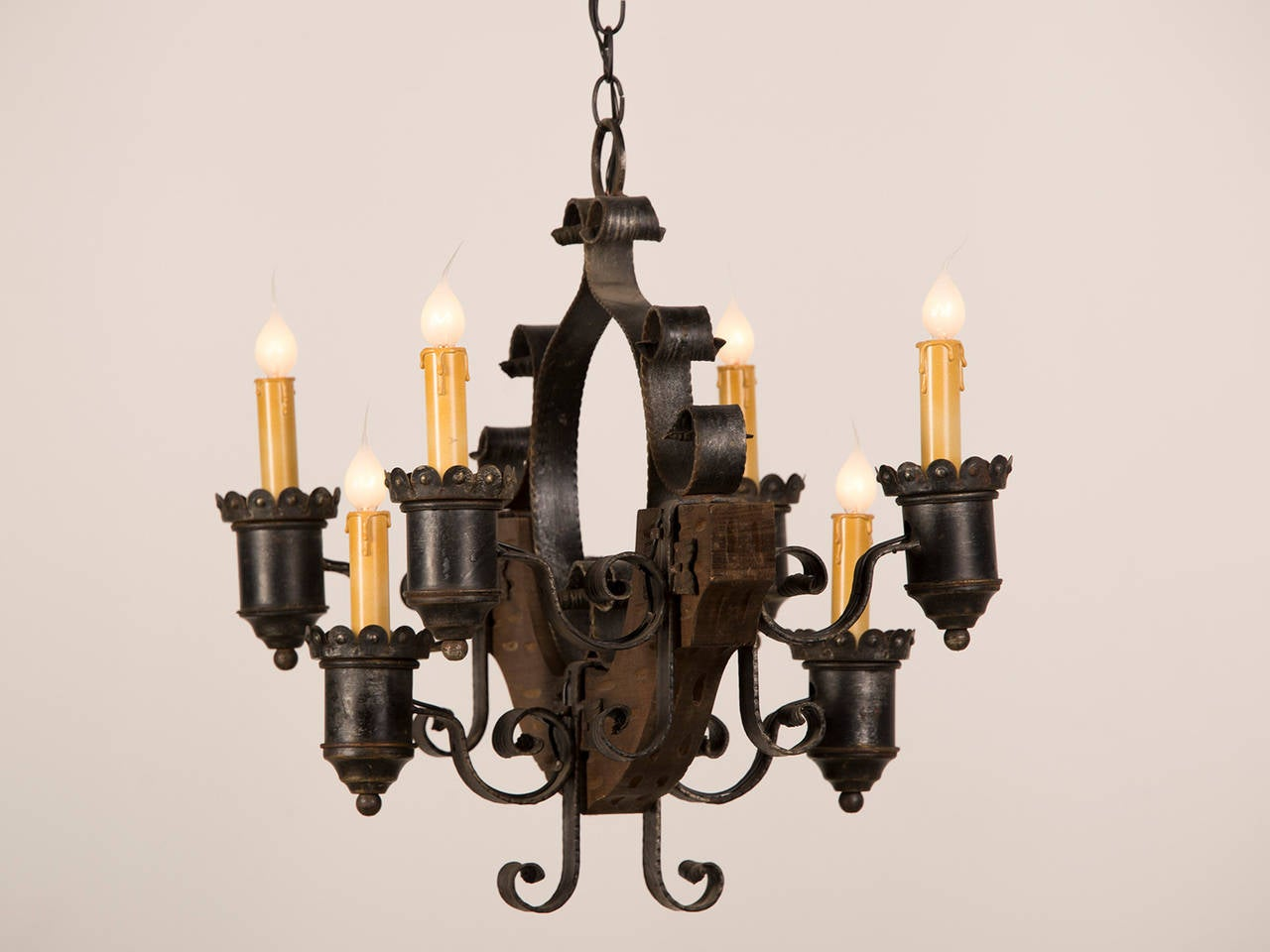 Pair of rustic wood and iron six light chandeliers france circa 1920 at 1stdibs - Circa lighting chandeliers ...