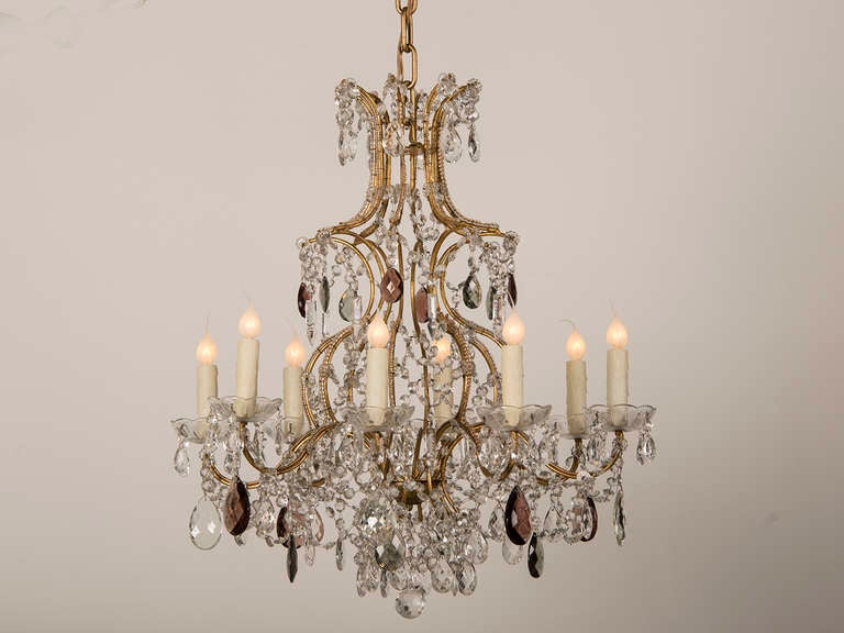 Antique Swedish Gustavian Style Crystal Chandelier, Eight Lights, circa 1900 2