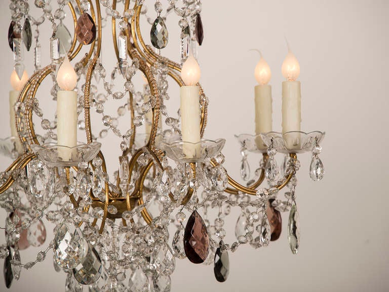 Antique Swedish Gustavian Style Crystal Chandelier, Eight Lights, circa 1900 3