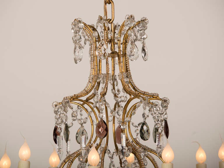 Antique Swedish Gustavian Style Crystal Chandelier, Eight Lights, circa 1900 4