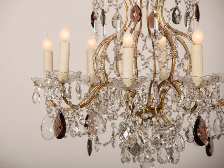 Antique Swedish Gustavian Style Crystal Chandelier, Eight Lights, circa 1900 5
