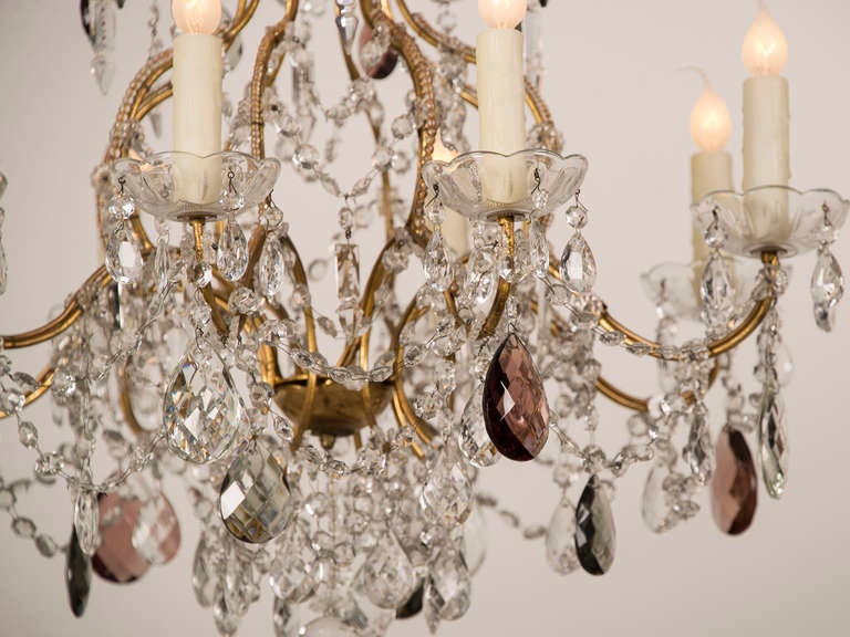 Antique Swedish Gustavian Style Crystal Chandelier, Eight Lights, circa 1900 7