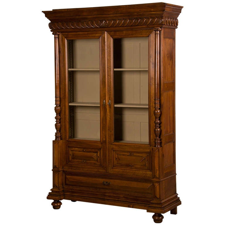 French Antique Walnut Display Cabinet/ Bookcase, Shallow Depth, circa 1870  For Sale - French Antique Walnut Display Cabinet/ Bookcase, Shallow Depth