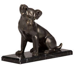 French Art Deco Period Cast Metal Dog on Marble Base, circa 1930