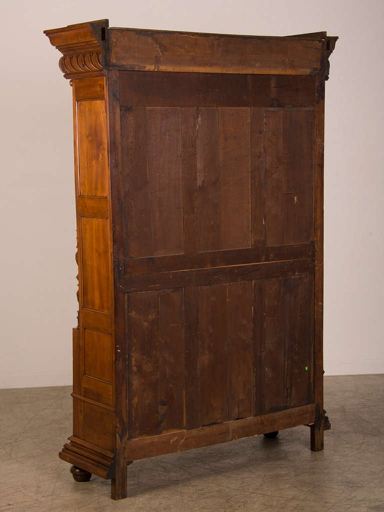 french antique walnut display cabinet bookcase shallow