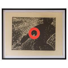"""Stop,"" Carol Bennett, Original Linocut on Paper, Kaua'i, 2004"
