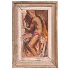 Signed painting by English artist Victor Hume of an Athlete, circa 1960