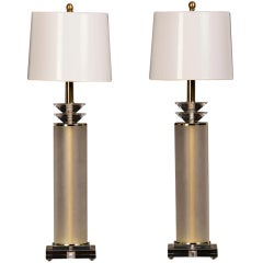 Vintage Pair Lucite Frosted Acrylic Cylinder Lamps From