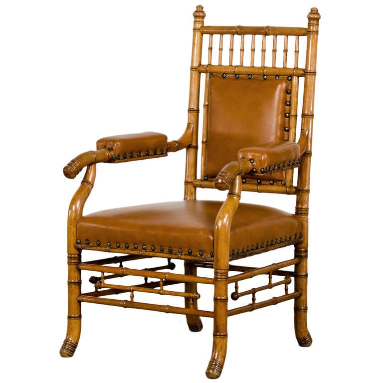 Antique French Napoleon III Period Faux Bamboo Beechwood Armchair circa 1865