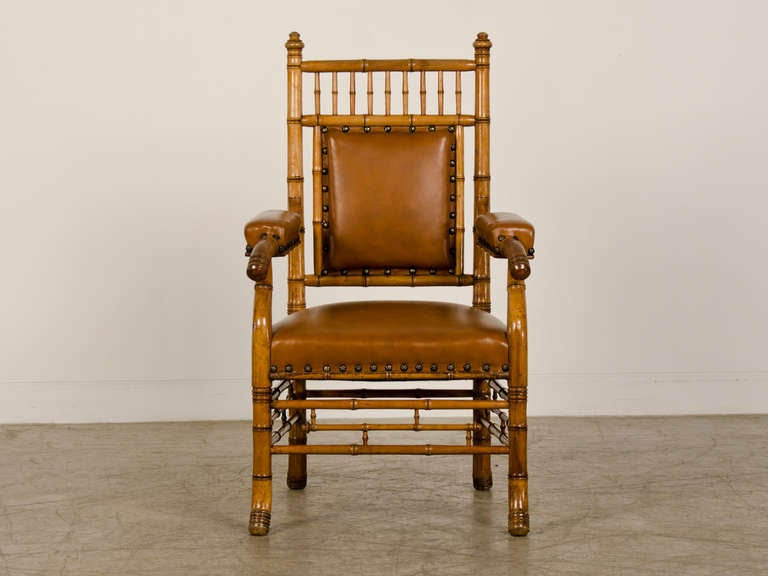 Carved Antique French Napoleon III Period Faux Bamboo Beechwood Armchair circa 1865 For Sale