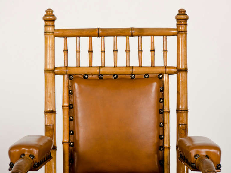 Antique French Napoleon III Period Faux Bamboo Beechwood Armchair circa 1865 In Excellent Condition For Sale In Houston, TX