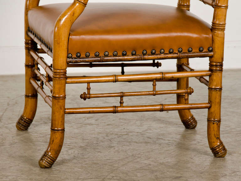 Leather Antique French Napoleon III Period Faux Bamboo Beechwood Armchair circa 1865 For Sale