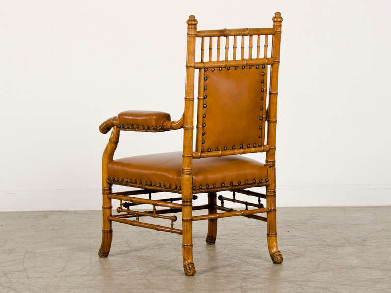 Antique French Napoleon III Period Faux Bamboo Beechwood Armchair circa 1865 For Sale 3