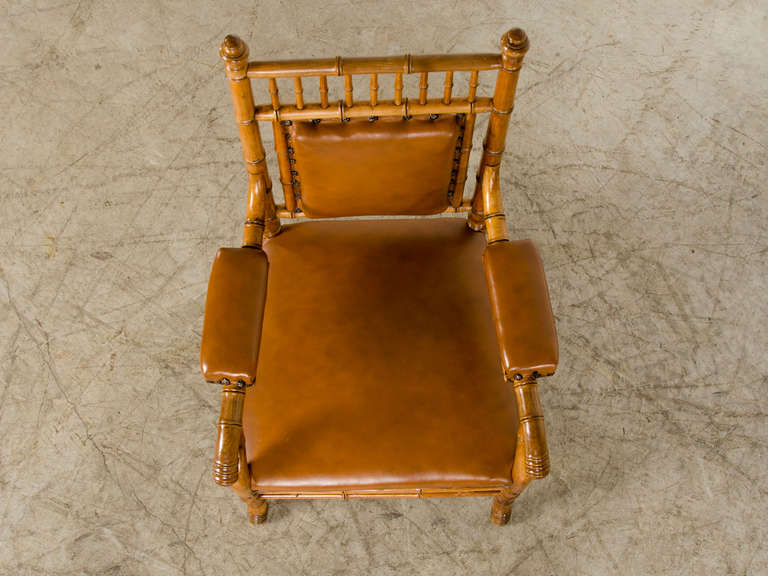 Antique French Napoleon III Period Faux Bamboo Beechwood Armchair circa 1865 For Sale 4