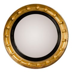"Antique English Regency Perios Gold Leaf Convex Mirror circa 1825 ( 19 1/2""dia.)"