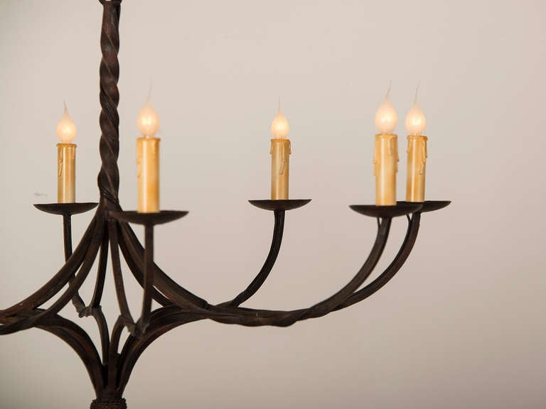 Eight Arm Hand Forged Iron Chandelier France C 1875 At