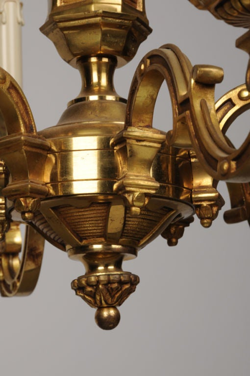 Louis Xvi Style Bronze Dore Chandelier From France C 1895