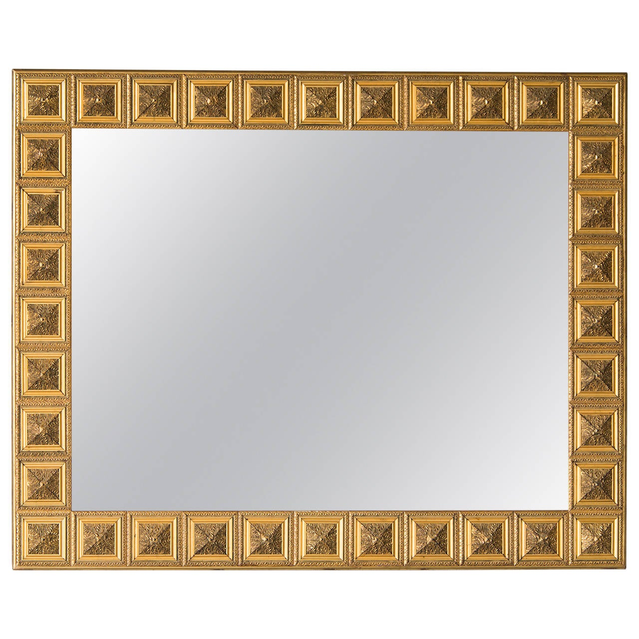 Vintage Italian Square Medallion Giltwood Mirror, circa 1920