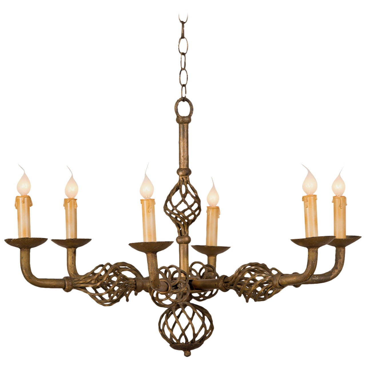 Gilded forged iron six light chandelier france circa 1930 at 1stdibs - Circa lighting chandeliers ...