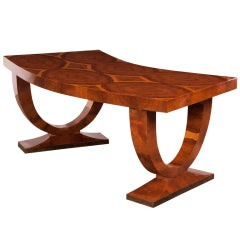 Art Deco Walnut Writing Table With A Curved Front And One Drawer, France C.1930