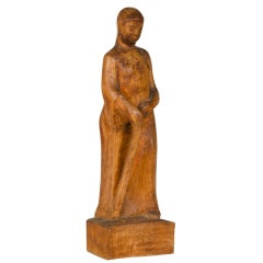 Hand carved statuette made of timber of a woman, Italy c.1900