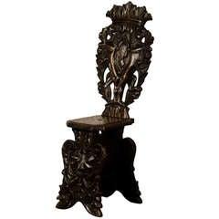 """Italian """"Sgabello"""" Single Oak Chair of Grand Palazzo Scale, circa 1840"""
