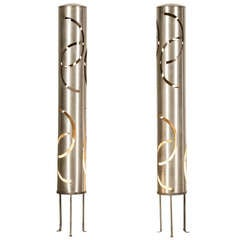Pair of Vintage Italian Laser Cut Steel Cylinders Now Wired as Standing Lamps