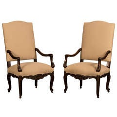 Pair of Elegant Louis XV Style Carved Walnut Armchairs, France c.1875