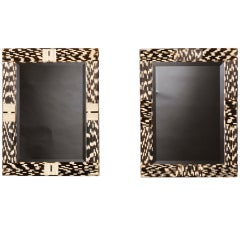 Two quill covered framed beveled mirrors with intriguing pattern, France