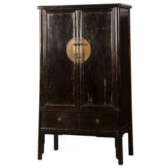Black Lacquer Two Door Cabinet from the Kuang Hsu Period in China c.1875