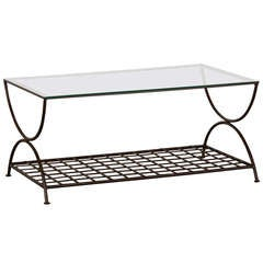 Hand Forged Iron Coffee Table With Woven Mesh Lower Shelf, France C.1940