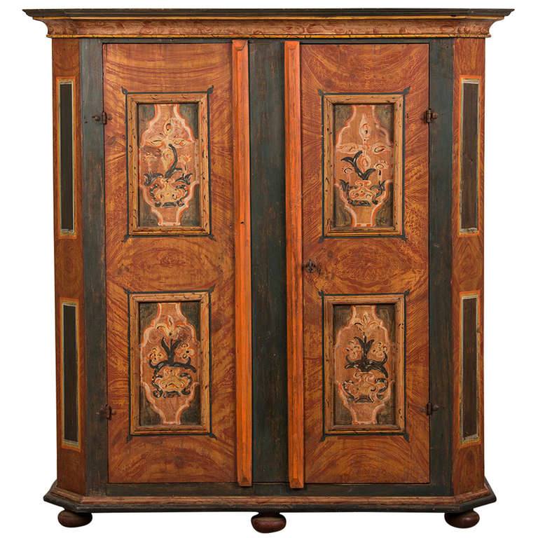 Antique German Hand Painted Dowry Cabinet, Two Doors, Circa 1800 1