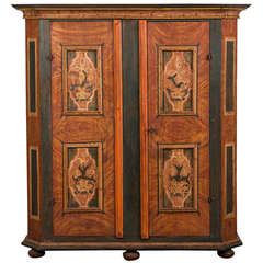 Antique German Hand Painted Dowry Cabinet, Two Doors, circa 1800