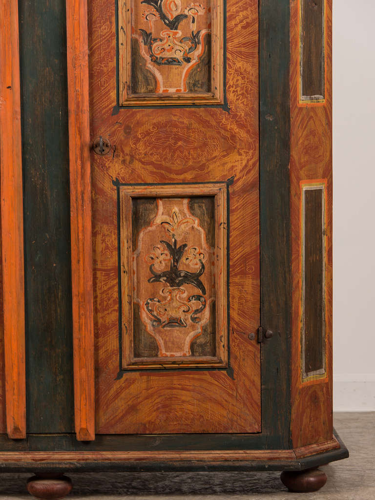 Antique German Hand Painted Dowry Cabinet Two Doors