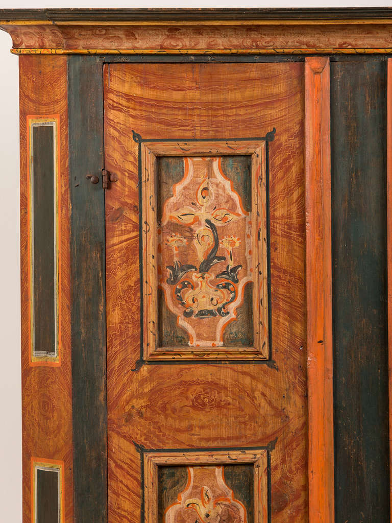 Folk Art Antique German Hand Painted Dowry Cabinet, Two Doors, circa 1800  For Sale - Antique German Hand Painted Dowry Cabinet, Two Doors, Circa 1800 For