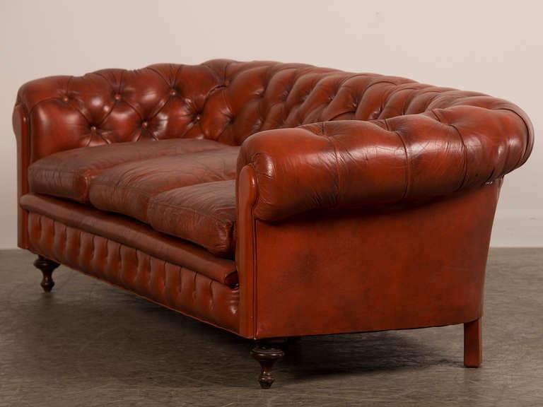 edwardian period chesterfield leather sofa original feet. Black Bedroom Furniture Sets. Home Design Ideas