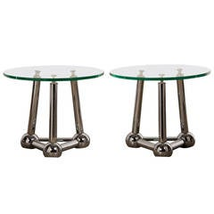 Pair of Chrome Atomic End Tables with Glass Tops, France circa 1970
