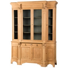 A Pale Oak Bibliothèque from France c.1885 with the Original Glass Doors