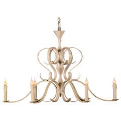Large Painted Iron Chandelier From France, C.1940