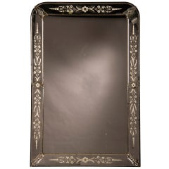 Louis Philippe Style Mirror with Reverse Side Etching from France c.1895