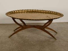 Solid Brass Oval Tray, Persia C.1890 With Its Original Folding Wood Base